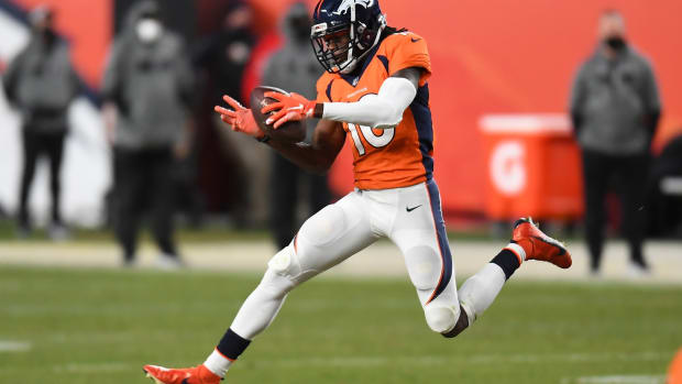 Denver Broncos wide receiver Jerry Jeudy (10) pulls in a ninety-two yard touchdown reception in the fourth quarter against the Las Vegas Raiders at Empower Field at Mile High.