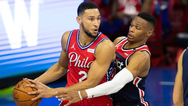 Ben Simmons guarded by Russell Westbrook