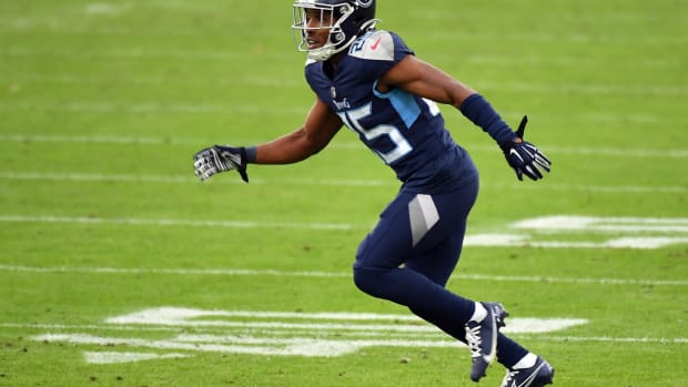 Tennessee Titans cornerback Adoree' Jackson (25) lines up for a play during the first half against the Detroit Lions at Nissan Stadium.