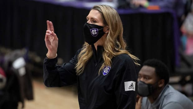 Maureen Magarity on the sidelines for Holy Cross