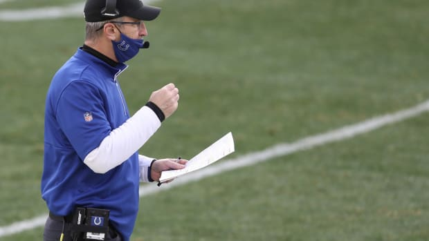 Indianapolis Colts head coach Frank Reich calls a play during a 2020 road game at Pittsburgh.