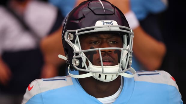 Tennessee Titans wide receiver A.J. Brown (11) before the game against the Pittsburgh Steelers at Nissan Stadium.
