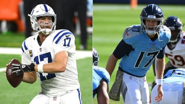 Philip Rivers of the Indianapolis Colts (left) and Ryan Tannehill of the Tennessee Titans. Syndication: The Indianapolis Star. © Scott Horner/IndyStar photo illustration via Imagn Content Services, LLC