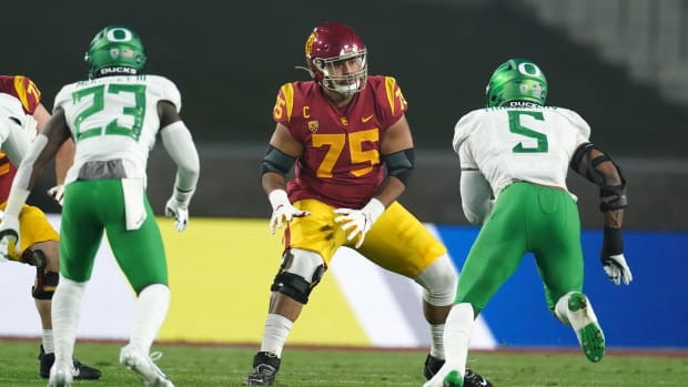 Dec 18, 2020; Los Angeles, California, USA; Southern California Trojans offensive lineman Alijah Vera-Tucker (75) during the Pac-12 Championship against the Oregon Ducks at United Airlines Field at Los Angeles Memorial Coliseum. Oregon defeated USC 31-24.
