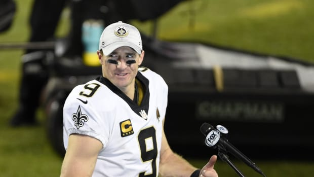 Jan 3, 2021; Charlotte, North Carolina, USA; New Orleans Saints quarterback Drew Brees (9) after the game at Bank of America Stadium. Mandatory Credit: Bob Donnan-USA TODAY Sports