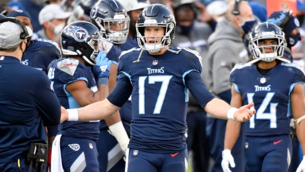 Tennessee Titans quarterback Ryan Tannehill (17) reacts on the sideline after throwing an interception in the fourth quarter during the Tennessee Titans game against the Baltimore Ravens in Nashville on January 10, 2021.