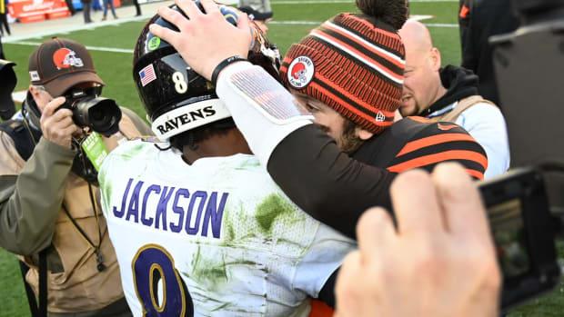 Dec 22, 2019; Cleveland, Ohio, USA; Cleveland Browns quarterback Baker Mayfield (6) and Baltimore Ravens quarterback Lamar Jackson (8) hug after the game at FirstEnergy Stadium. Mandatory Credit: Ken Blaze-USA TODAY Sports