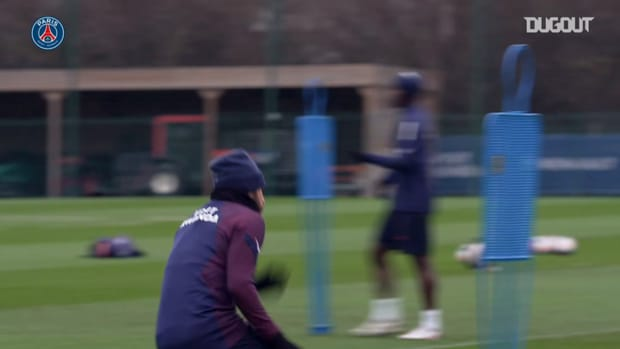 Neymar Jr on focus training session before the clash vs Marseille