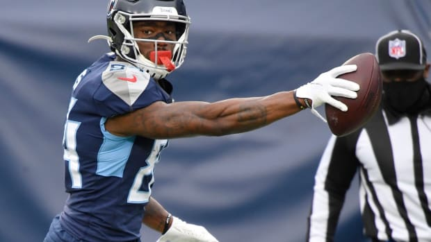 Tennessee Titans wide receiver Corey Davis (84) reacts as he runs in a touchdown during the first quarter against the Detroit Lions at Nissan Stadium Sunday, Dec. 20, 2020 in Nashville, Tenn.