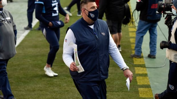 Tennessee Titans head coach Mike Vrabel leaves the field after his team lost to the Baltimore Ravens in Nashville on January 10, 2021.