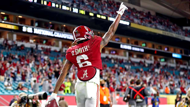 Devonta Smith celebrates after a touchdown in the national championship