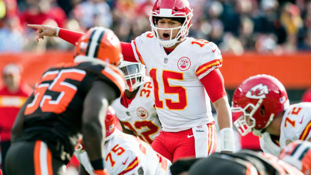 Nov 4, 2018; Cleveland, OH, USA; Kansas City Chiefs quarterback Patrick Mahomes (15) calls a play during the second half against the Cleveland Browns at FirstEnergy Stadium. Mandatory Credit: Ken Blaze-USA TODAY Sports