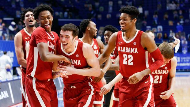 January 12, 2021, Alabama basketball players against Kentucky in Lexington, KY.