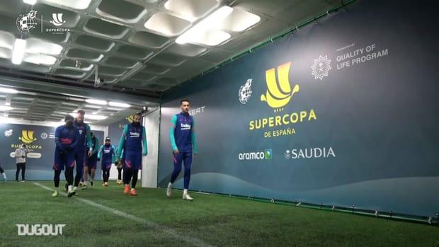 FC Barcelona train ahead of their Supercopa de España semifinal vs Real Sociedad