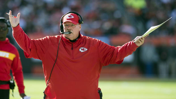 Nov 4, 2018; Cleveland, OH, USA; Kansas City Chiefs head coach Andy Reid reacts to a play during the first half against the Cleveland Browns at FirstEnergy Stadium. Mandatory Credit: Ken Blaze-USA TODAY Sports