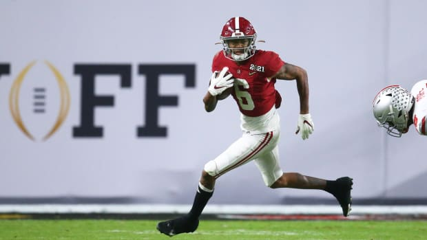 Jan 11, 2021; Miami Gardens, Florida, USA; Alabama Crimson Tide wide receiver DeVonta Smith (6) against the Ohio State Buckeyes in the 2021 College Football Playoff National Championship Game.