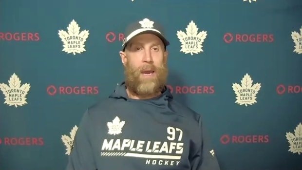Toronto Maple Leafs forward Joe Thornton talks about his first NHL game following a 5-4 win over the Montreal Canadiens