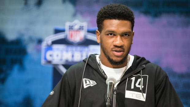 Vanderbilt tight end Jared Pinkney (TE14) speaks to the media during the 2020 NFL Combine in the Indianapolis Convention Center.