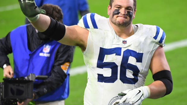 Indianapolis Colts offensive left guard Quenton Nelson waves after a road win at Tennessee in 2020.