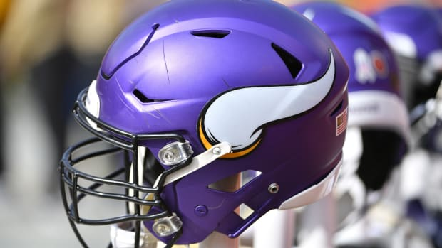Nov 3, 2019; Kansas City, MO, USA; A general view of a Minnesota Vikings helmet during the game against the Kansas City Chiefs at Arrowhead Stadium.