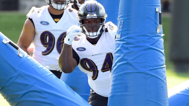 Baltimore Ravens defensive tackle Daylon Mack (94) during training camp at Under Armour Performance Center.