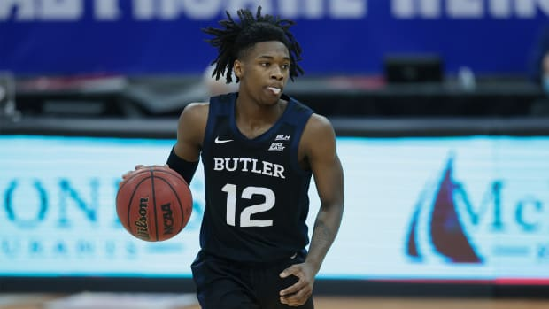 Jan 2, 2021; Newark, New Jersey, USA; Butler Bulldogs guard Myles Tate (12) dribbles up court during the second half against the Seton Hall Pirates at Prudential Center.