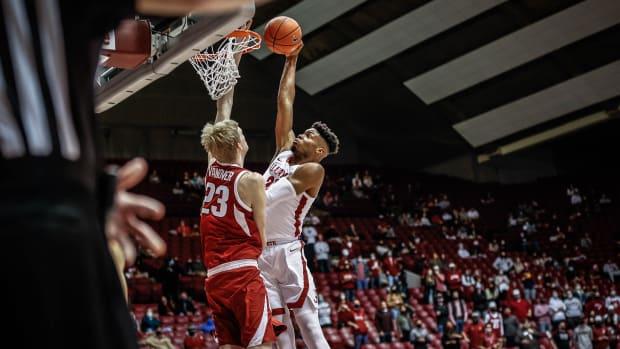 January 16, 2021, Alabama basketball center Keon Ambrose-Hylton against Arkansas in Tuscaloosa, AL.