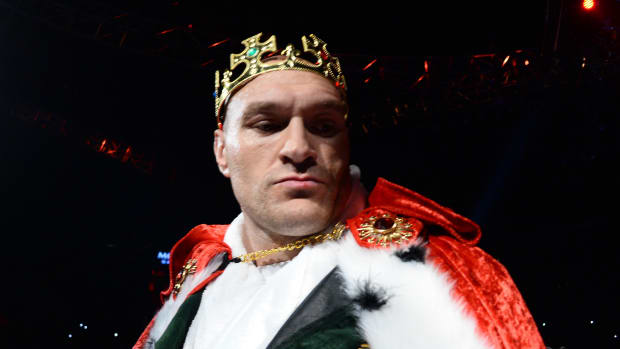 Tyson Fury enters the ring for his WBC heavyweight title bout against Deontay Wilder at MGM Grand Garden Arena.