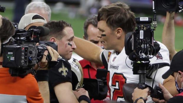 Brees and Brady handshake