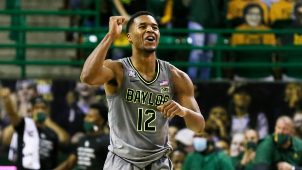 Baylor's Jared Butler celebrates during a win over Kansas