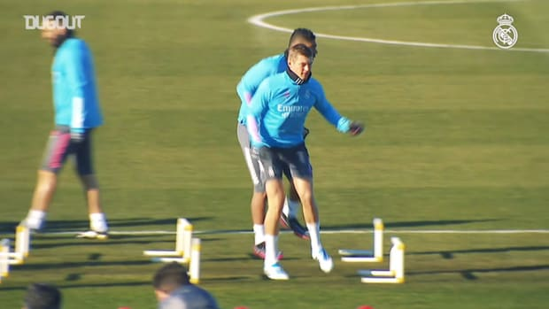 Last training session before the opening Copa del Rey game