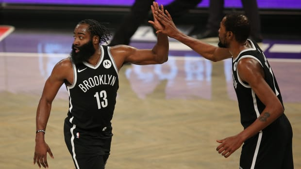 James Harden and Kevin Durant of the Brooklyn Nets