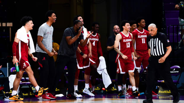 January 19, 2021, Alabama basketball players celebrate during the LSU game in Baton Rouge, LA.