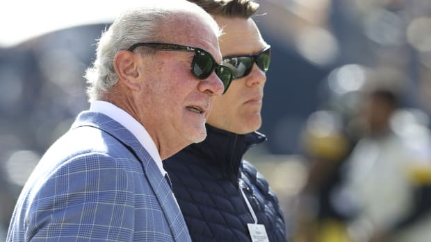 Indianapolis Colts owner Jim Irsay (left) and general manager Chris Ballard have to find a quarterback for 2021 and beyond.