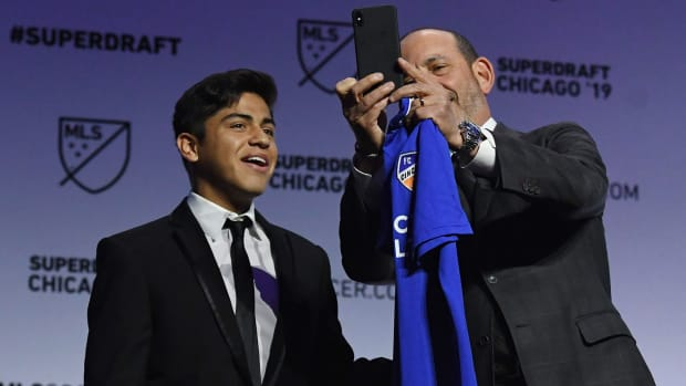 MLS Commissioner Don Garber and 2019 No. 1 draft pick Frankie Amaya