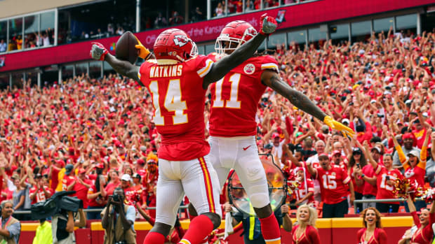 Sep 22, 2019; Kansas City, MO, USA; Kansas City Chiefs wide receiver Demarcus Robinson (11) celebrates with wide receiver Sammy Watkins (14) after scoring a touchdown against the Baltimore Ravens during the first half at Arrowhead Stadium. Mandatory Credit: Jay Biggerstaff-USA TODAY Sports