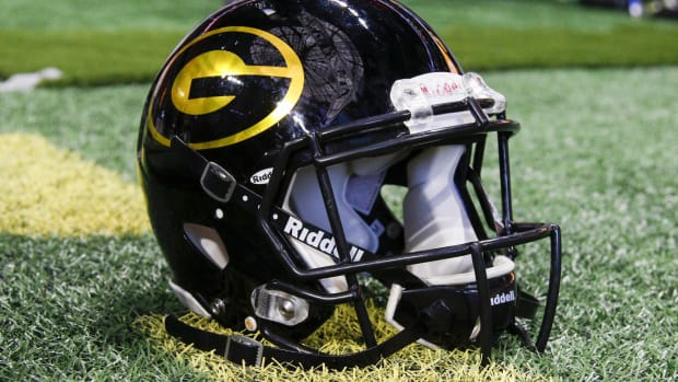 Dec 16, 2017; Atlanta, GA, USA; Detailed view of Grambling State Tigers helmet on the sideline before a game against the North Carolina A&T Aggies in the 2017 Celebration Bowl at Mercedes-Benz Stadium.