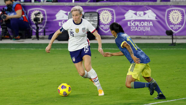 Megan Rapinoe faces off against Colombia in an international friendly.