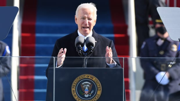 President Joe Biden speaks at his inauguration ceremony.