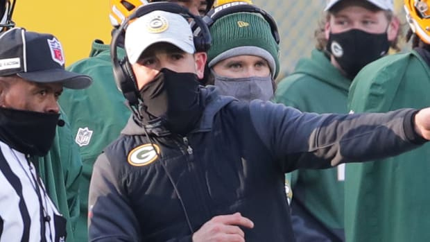 Green Bay Packers head coach Matt LaFleur argues a call during the 2nd quarter of the Green Bay Packers game against the Tampa Bay Buccaneers in the NFC championship playoff game