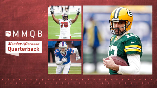 Bucs offensive lineman Tristan Wirfs; Bills wide receiver Cole Beasley; Packers quarterback Aaron Rodgers