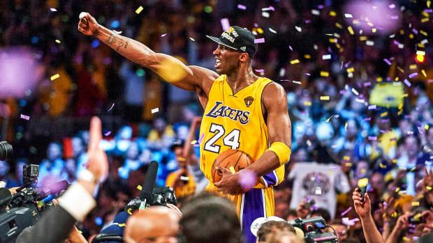 Kobe Bryant celebrates after winning NBA Finals