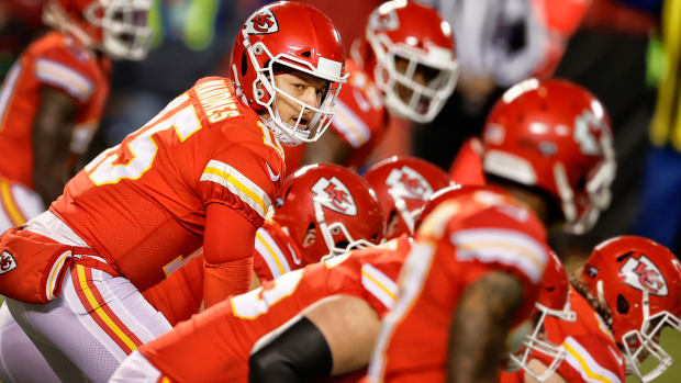 Patrick Mahomes at the line of scrimmage during the AFC title game win over the Bills