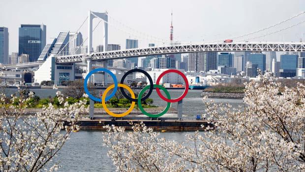 Olympic rings monument at Rainbow Bridge, Odaiba, Tokyo