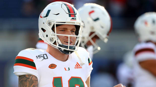 Tate Martell during pregame warmups with the Hurricanes