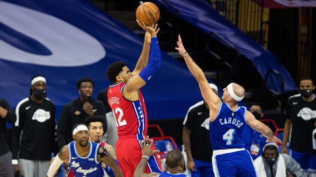 Tobias Harris knocks down a game-winning jumper against the Lakers on Jan. 27.