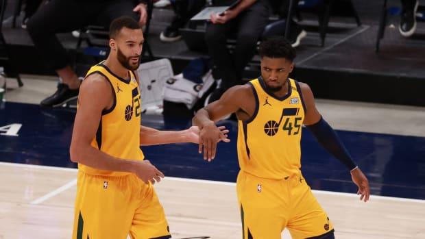Donovan Mitchell Rudy Gobert Utah Jazz against the New York Knicks