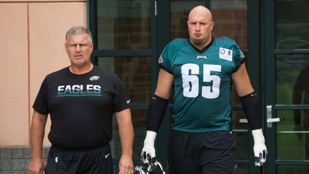 Jeff Stoutland with Lane Johnson