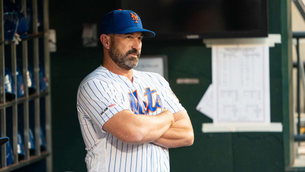 New York Mets manager Mickey Callaway (36) in the dugout prior to the game against the Arizona Diamondbacks at Citi Field in September 2019.