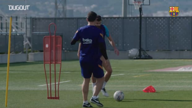 Gerard Pique celebrates his birthday with Barcelona training return